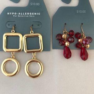 2 pair gold red beaded pierced earrings NWT
